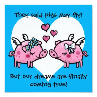 Gay bride pigs may fly wedding invitation