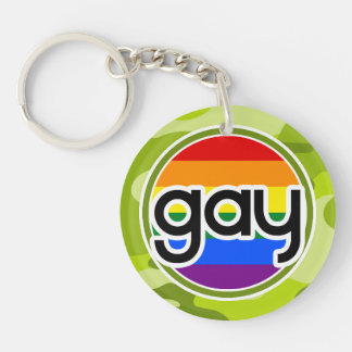 Gay bright green camo camouflage keychain