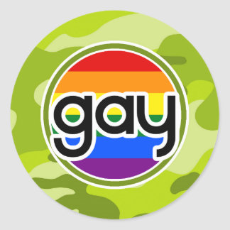 Gay; bright green camo, camouflage sticker