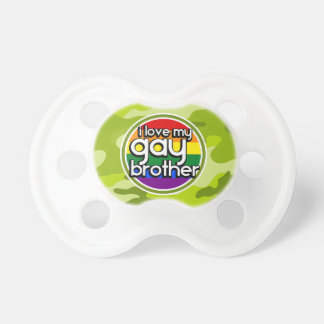Gay Brother; bright green camo, camouflage Pacifiers