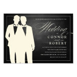 Gay Chalkboard Wedding Two Grooms Silhouettes 13 Cm X 18 Cm Invitation Card