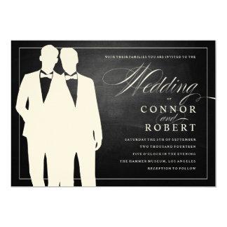 "Gay Chalkboard Wedding Two Grooms Silhouettes 5"" X 7"" Invitation Card"