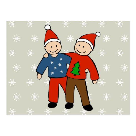 Gay Christmas Couple Postcard