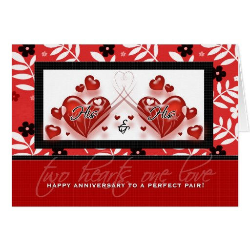 Gay Couple Anniversary - His & His Red Hearts Card