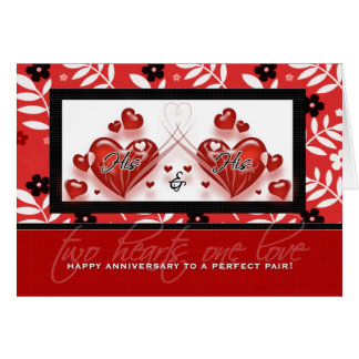 Gay Couple Anniversary - His & His Red Hearts Greeting Card