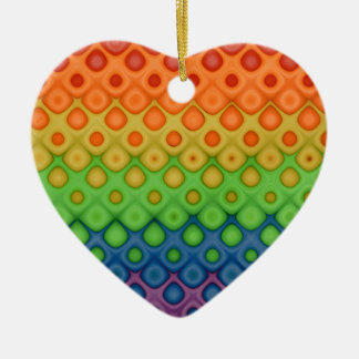 Gay Couple Rainbow Bubbles Heart Wedding Ornament