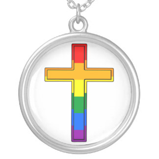 Gay Cross Silver Plated Necklace