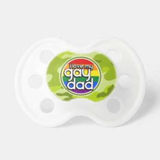 Gay Dad; bright green camo, camouflage Pacifiers