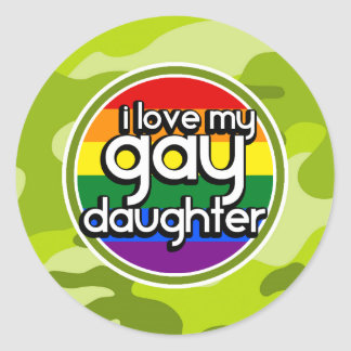 Gay Daughter; bright green camo, camouflage Round Stickers