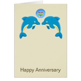 Gay Dolphins And Love Heart Bubble Anniversary Note Card