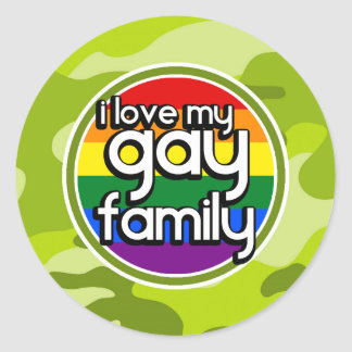 Gay Family; bright green camo, camouflage Round Stickers
