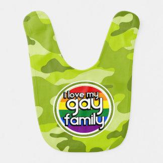 Gay Family; bright green camo, camouflage Baby Bibs