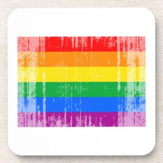 GAY FLAG DISTRESSED DRINK COASTER