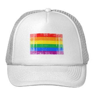 GAY FLAG DISTRESSED TRUCKER HAT