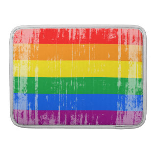 GAY FLAG DISTRESSED -.png Sleeve For MacBook Pro