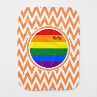 Gay Flag; Orange and White Chevron Burp Cloth
