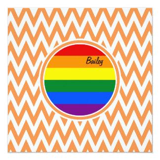 "Gay Flag; Orange and White Chevron 5.25"" Square Invitation Card"
