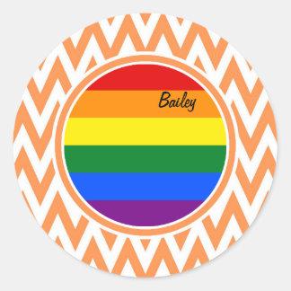 Gay Flag; Orange and White Chevron Stickers