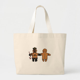 gay gingerbread couple large tote bag