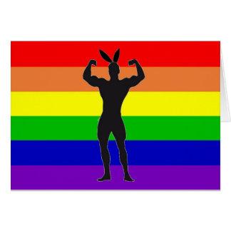 Gay Gym Bunny Pride Greeting Card