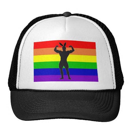 Gay Gym Bunny Pride Mesh Hat