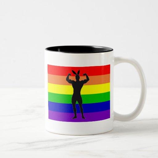 Gay Gym Bunny Pride Mugs