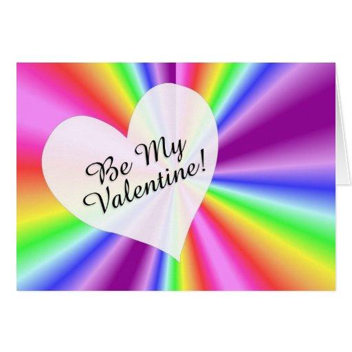 Gay / Lesbian Be  My Valentine Rainbow Card