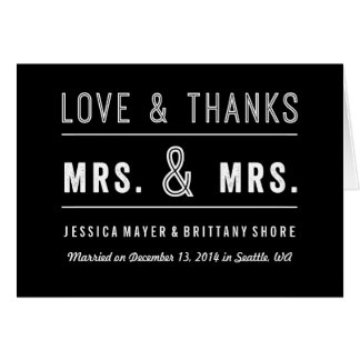 Gay Lesbian Couple Wedding Thank You Card
