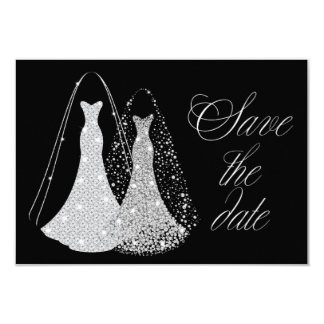 Gay Lesbian Elegant Save the Date 9 Cm X 13 Cm Invitation Card