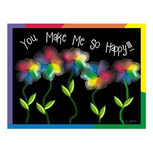 Gay Lesbian Rainbow Flowers Postcard