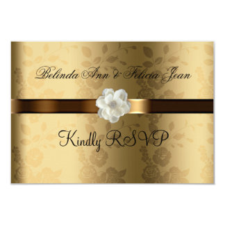 "Gay Lesbian Wedding RSVP Gold, Chocolate Brown 3.5"" X 5"" Invitation Card"