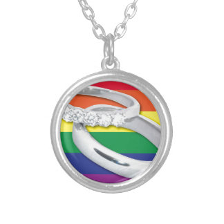 Gay Lesbian Wedding Silver Plated Necklace