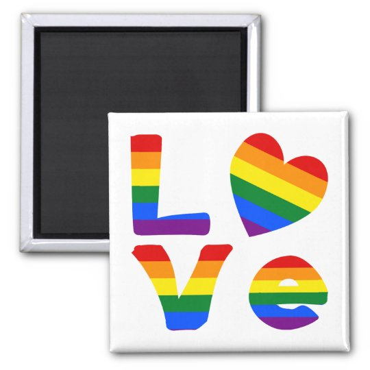 Gay Love Rainbow Square Magnet
