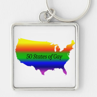 Gay Love Wins! Silver-Colored Square Key Ring