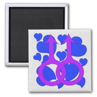 Gay Male Marriage Hearts Square Magnet