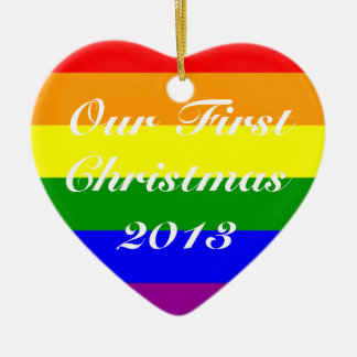 Gay Marriage First Christmas 2013 Ceramic Heart Decoration