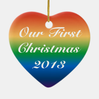 Gay Marriage First Christmas custom year Ceramic Heart Decoration
