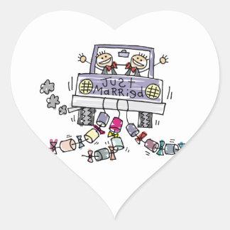 Gay Marriage Groom Just Married Heart Sticker