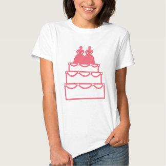 Gay Marriage Lesbian Wedding Cake Commitment Pink Tshirts