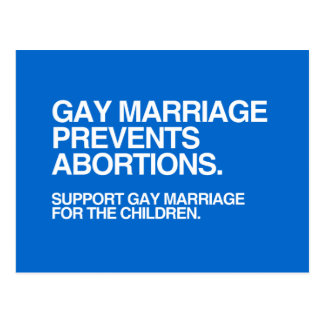 GAY MARRIAGE PREVENTS ABORTION -.png Postcard