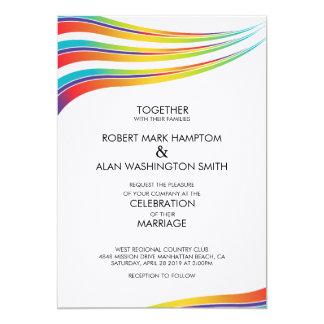 Gay Marriage Rainbow Wave Invitation