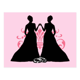 Gay Marriage Two Brides Pink Postcard