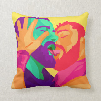 Gay Men Kissing, Rainbow Art, Colorful Pillow