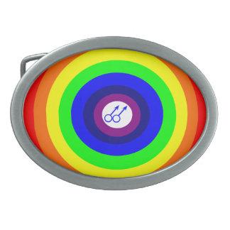 Gay Men Round Rainbow Belt Buckle