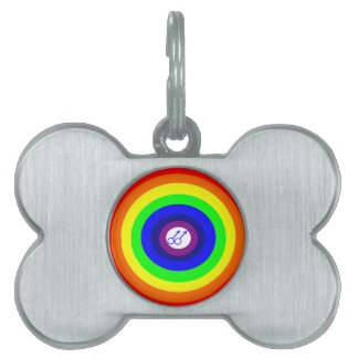 Gay Men Round Rainbow Pet Tag