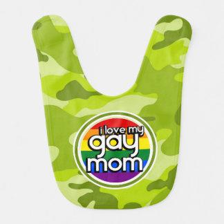 Gay Mom; bright green camo, camouflage Baby Bibs