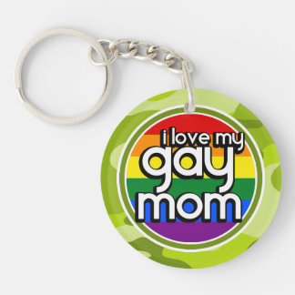 Gay Mom bright green camo camouflage Keychains