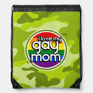Gay Mom bright green camo camouflage Drawstring Backpack