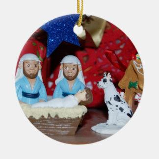 Gay Nativity: Love Makes a Holy Family Round Ceramic Decoration
