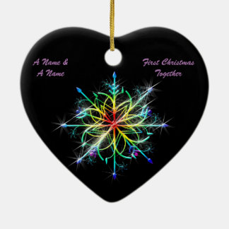 Gay Newly Weds First Christmas Pride Snowflake Ceramic Heart Decoration